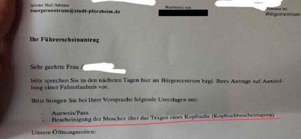 Kopftuchbescheinigung © Facebook, bearbeitet by iQ.
