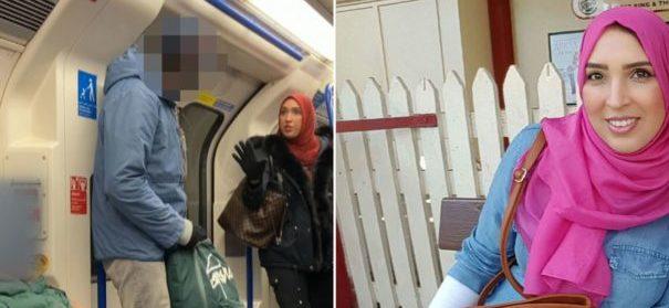 Muslimin beschützt jüdische Familie in Londoner U-Bahn (c)facebook, bearbeitet by iQ
