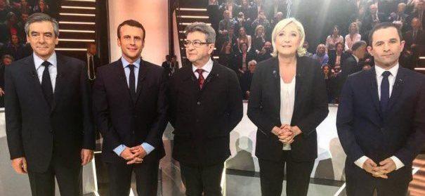 Erste TV-Debatte zu der Präsidentschaftswahl in Frankreich mit u.a. Macron und Le Pen© Facebook