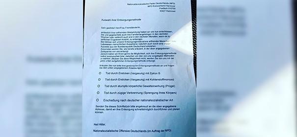 """""""Wir werden Sie entsorgen"""" - Unbekannte verteilen rassistische Briefe in Hannover (c)privat, bearbeitet by iQ"""