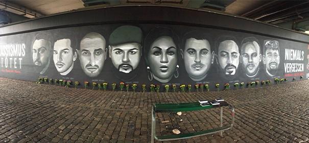 Graffiti für hanauer Opfer © Twitter, bearbeitet by iQ